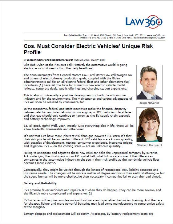 Law360 Article Electric Vehicle Unique Risk Profile McCarter Marquardt